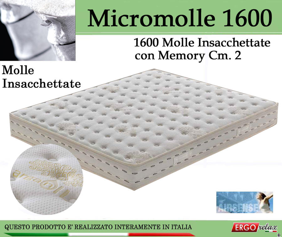 Materasso Molle Insacchettate Mod Micromolle 1600 con Memory da Cm 140x190/195/200 -Ergorelax