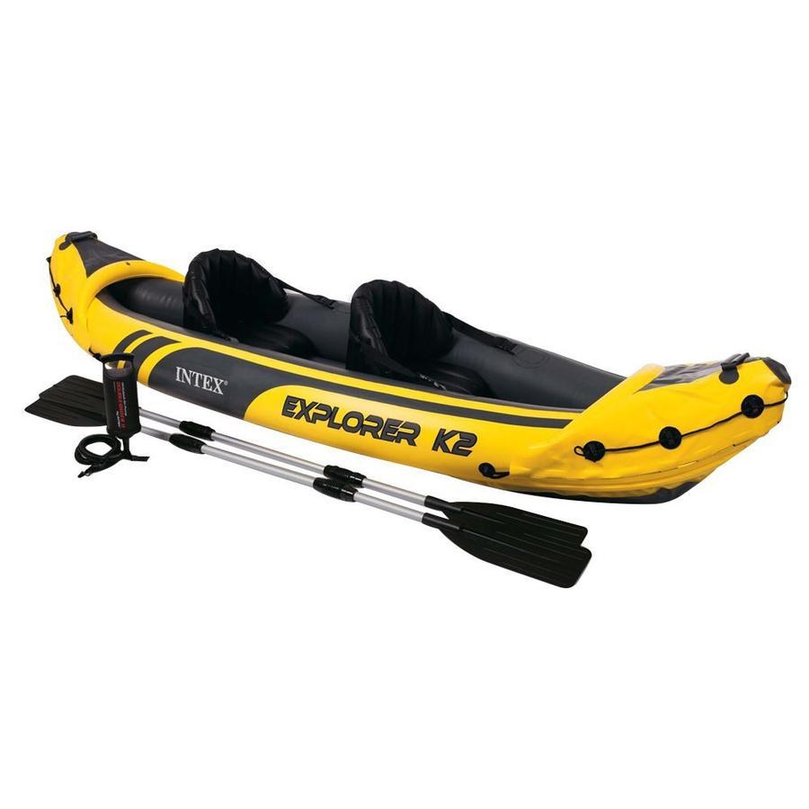 Kayak Canoa Gonfiabile INTEX 68307 K2 EXPLORER Kayak con pompa Remi in alluminio Intex 312x91x51cm