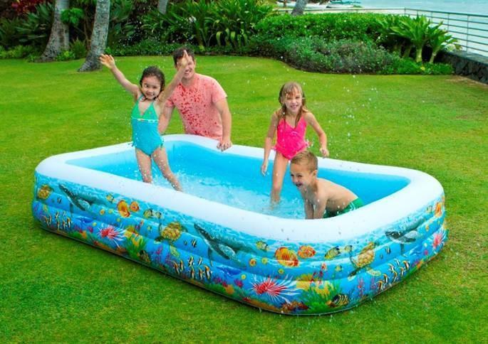 Descrizione prodotto piscina family 305x183x56 cm con for Pesci finti per piscina