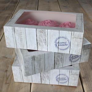 Set 3 scatole porta 6 cupcakes decoro natura
