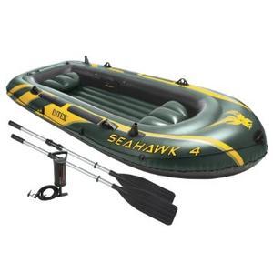 Canotto Gonfiabile Gommone Intex 68351 Seahawk 4 Intex 68351 Seahawk 4 Set con Remi e Pompa, 351x145x48 cm Mare Lago Pesca Barca Kayak