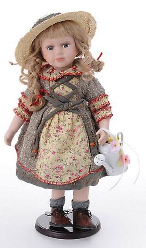 Bambola da Collezione in Porcellana con Innaffiatoio e Cappellino RF Collection Qualità Made in Germany