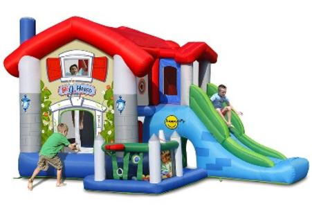 GIOCO gonfiabile BIG HOUSE ART.9515 mis.455 x 330 con motore e 30 palline incluso Castello gonfiabile multiattività Happy Hop Big House cod 9515