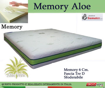 Materasso Memory Mod Memory Aloe Matrimoniale da Cm 160x190/195/200 Sfoderabile - Ergorelax