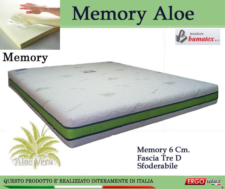 Materasso Memory 6 Cm.Offerta Materasso Memory Mod Memory Aloe Da Cm 170x190 195 200