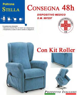 Poltrona Relax Stella completa di Alzapersona e Kit Roller 2 Motori Tessuto Lavabile Colore Blu Sfoderabile Consegna 48 Ore