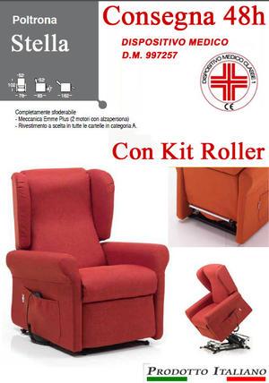 Poltrona Relax Stella completa di Alzapersona e Kit Roller 2 Motori Tessuto Lavabile Colore Bordeaux Sfoderabile Consegna 48 Ore