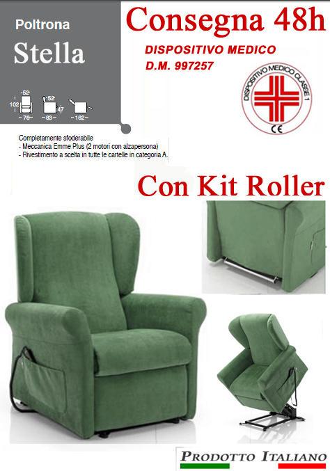 Poltrona Relax Stella completa di Alzapersona e Kit Roller 2 Motori Tessuto Lavabile Colore Verde Bottiglia Classico Sfoderabile Consegna 48 Ore