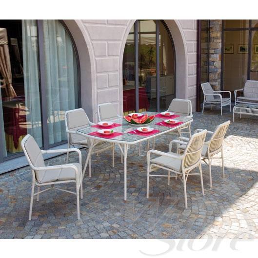 Set pranzo da giardino CAMARGUE 1 tavolo + 6 poltrone alluminio SET05