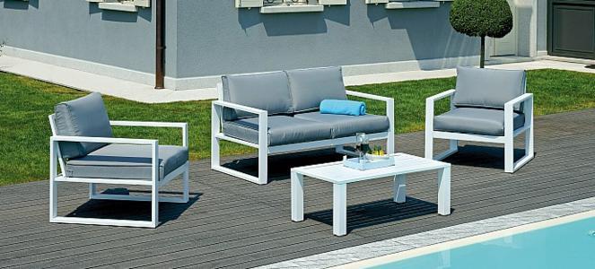 Set salottino da esterno giardino SET FORTALEZA in alluminio bianco SET32