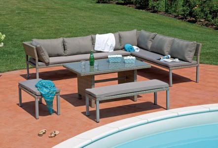 Set divanetti angolare da giardino da esterno SET PALERMO 2 divani tavolo 2 panche set37 SOTTOCOSTO