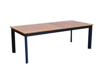 Tavolo allungabile in alluminio ALICANTE nero con piano in legno teak 220/320 x 100 code RTT64