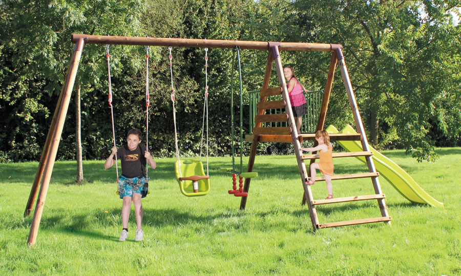 Area giochi giardino APACHE altalena + altalena baby + cavalluccio + scivolo cod.AGL1363