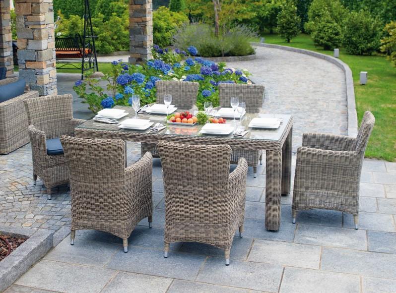 Tavolo da giardino ANTIGUA in Alluminio e Wicker Grey Kubu 180 x 100 cm  RTW 69