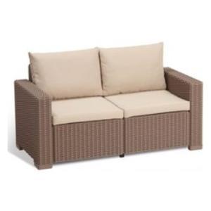 Divano 2 posti CALIFORNIA 2 divano in resina colore cappuccino con cuscino colore sabbia