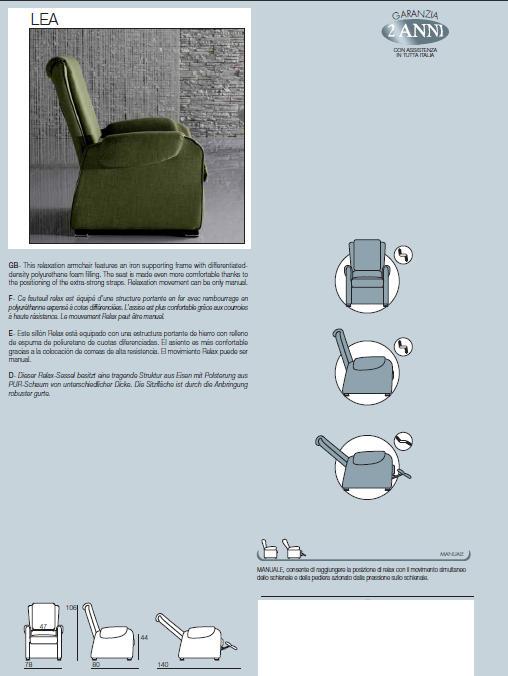 Poltrona Relax Manuale Mod Lea Prodotto Italiano