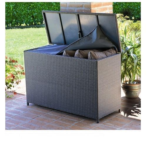 Cestone baule da giardino Box in rattan Wicker piatto caffè 120 x 50 x 79h box cuscini BXW 91