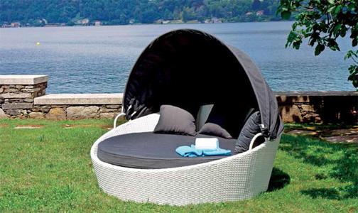 Lettino da giardino relax con tettuccio OASI 1 posti in wicker bianco