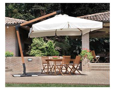 Ombrellone quadrato da giardino PROFESSIONALE  3x3 ecrù girevole manovella palo laterale legno volante BAR 4003