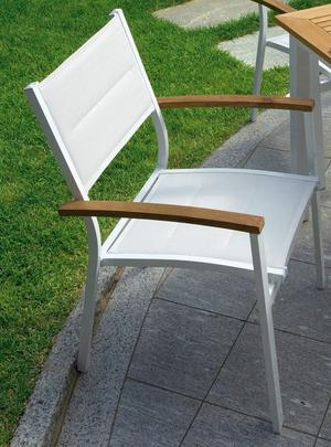Sedia da giardino in alluminio BASTIA in Teak ed Alluminio Avorio Impilabile Textilene Imbottito CHT80
