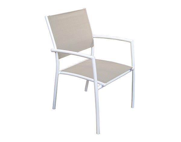 Sedia TALAMONE in Alluminio Bianco e Textilene Tortora Impilabile CHA 82