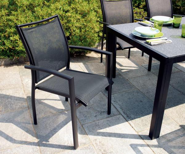 Sedia da giardino FORMIA in Alluminio e Textilene Nero Impilabile CHY04