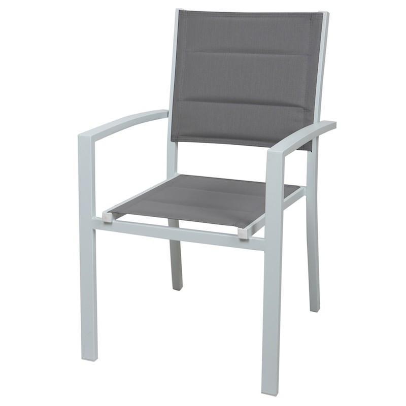 SEDIA da giardino SEGESTA alluminio bianco con textilene imbottito grigio cenere CHA 23