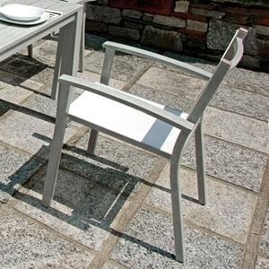 Sedia PORTICI in Alluminio color Legno Sbiancato e Textilene Avorio  Impilabile CHA26