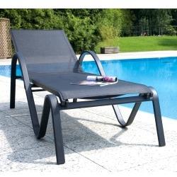 Lettino da giardino piscina ONDA in alluminio e textilene impilabile di colore grigio scuro Moia CLT 73