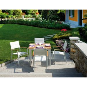 TAVOLO quadrato da giardino alluminio teak CALVI 90 x 90 cm RTT 81