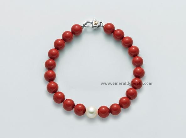 PBR1799V Bracciale di Corallo Rosso e perla Miluna