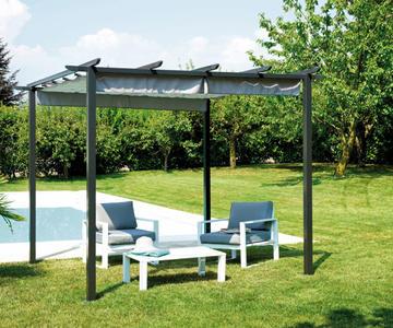 GAZEBO PERGOLA da giardino LUIGI CON TETTO SCORREVOLE 3×3 mt. alluminio antracite GAZ 503