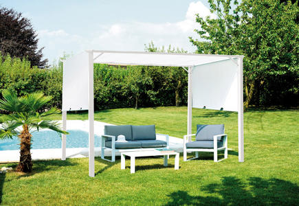 PERGOLA da giardino CON TETTO in tela SCORREVOLE 3,5×2,5 mt. ferro epoxy bianco GAZ 502