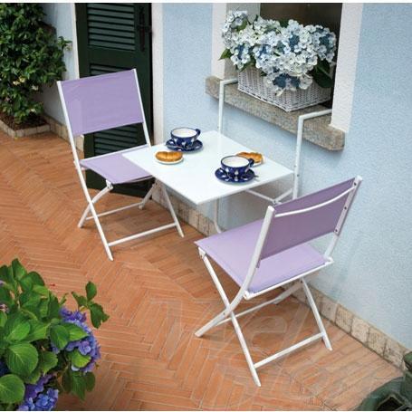 tavolino pieghevole con sedie bianco