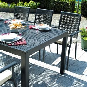 Tavolo da giardino fisso POSILLIPO 180x100xH75 cm alluminio antracite esterno giardino RTA76
