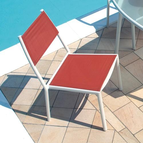 Sedia da giardino SABAUDIA impilabile textilene terracotta alluminio avorio esterno CHA80