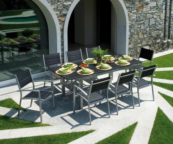 TAVOLO da giardino RAVELLO allungabile 150/210 x 90 cm in alluminio SILVER-NERO cod.RTY16 SOTTOCOSTO