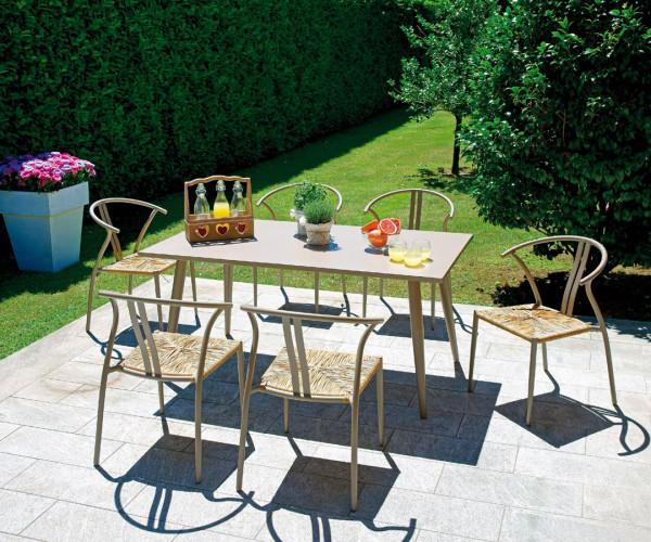 TAVOLO da giardino TRAPANI 160 x 90 cm alluminio tortora con piano alluminio RTA 21