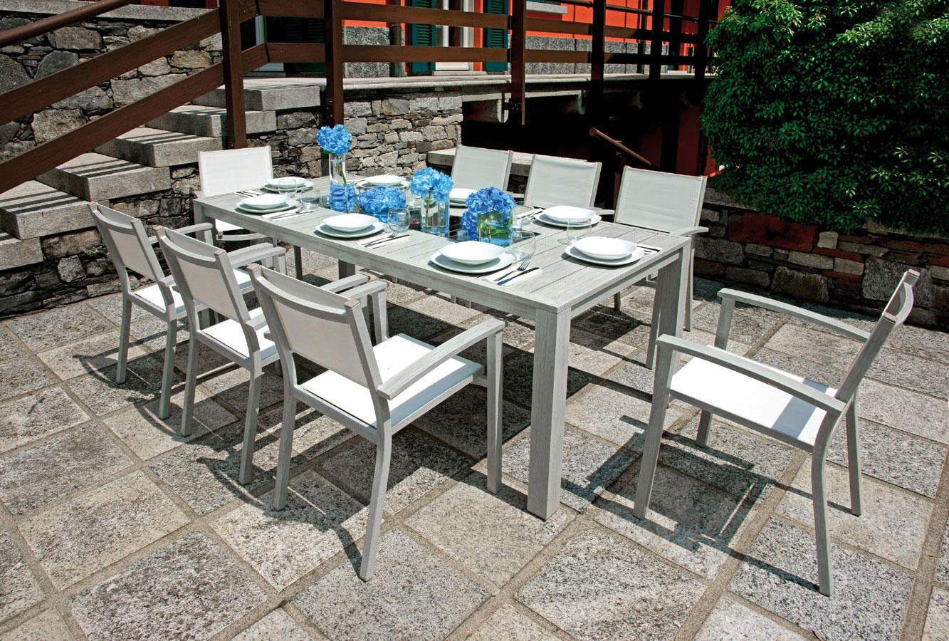 Tavolo pozzuoli 215 x 100 cm alluminio colore legno for Tavolo in alluminio