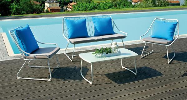 Salottino da giardino per esterno SET PORTO SEGURO 2 poltrone 1 divano 2  posti tavolino SET 20