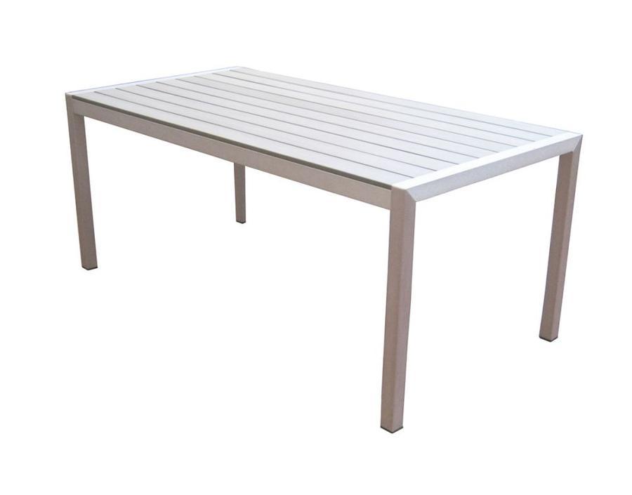 Tavolo da giardino BONASSOLA fisso180x90 struttura alluminio satinato piano resin wood RTE53