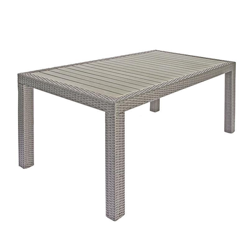 Tavolo bordeaux fisso 150x90 piano resin wood rattan sintetico avana rtw56a la linearit del - Immagini tavoli da giardino ...