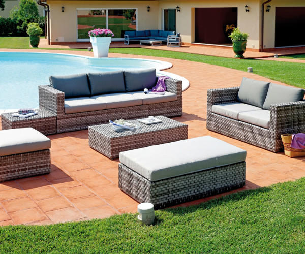 Set da giardino imperiale SET SAINT TROPEZ in rattan sintetico color grigio SET 60
