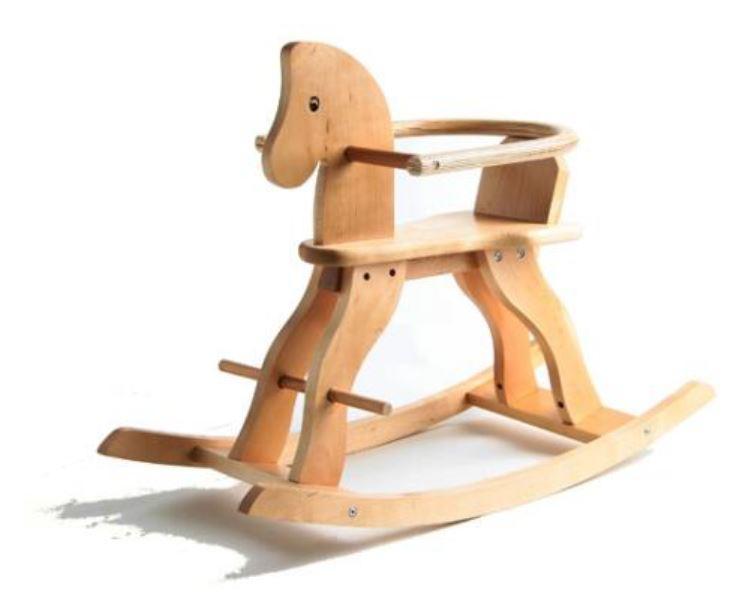 Cavallo a Dondolo in Legno Naturale con Seduta Chiusa di Mister Wood