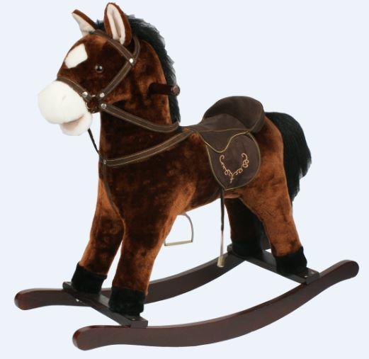 """Cavallo a Dondolo """"Nitrito"""" con Bocca che si muove in Legno Naturale e Tessuto di Mister Wood"""