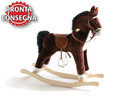 """Cavallo a Dondolo """"Galoppo"""" in Legno Naturale e Tessuto di Mister Wood"""