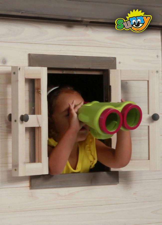 """Casetta per Bambini in Legno di Cedro """"Lodge Blu e Bianca"""" di SUNNY"""