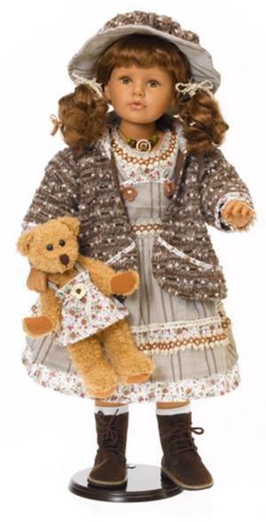 """Bambola da Collezione in Vinile  """"Adele`s Puppenhaus Collection"""", edizione limitata 999 pezzi Rebecca Bambina con Cardigan e Orsetto RF Collection Qualità Made in Germany"""