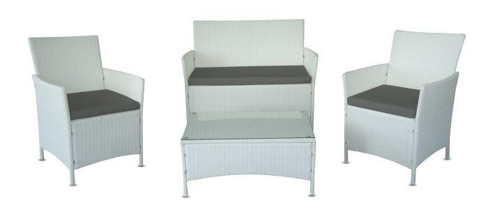 Salotto da giardino in polyrattan bianco omaggio cuscini for Salotto da giardino amazon