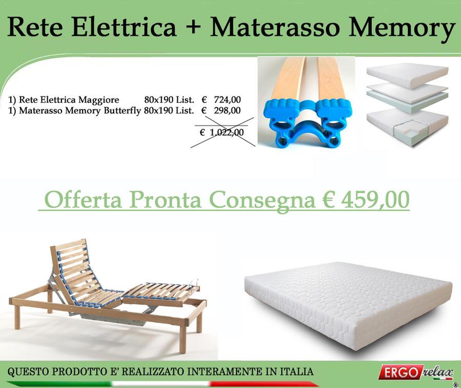 Reti E Materassi Memory.Offerta Kit Rete Elettrica Maggiore 80x190 Materasso Memory Butterfly 80x190 Ergorelax